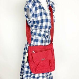 NWT Baggallini Women's Red Nylon Crossbody Purse